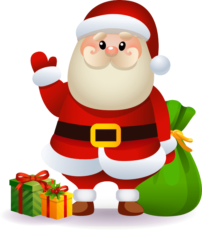 Santa Claus with gifts and goodies
